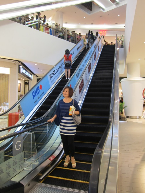 My colleague and I descended the escalator ELEGANTLY and waited next to it patiently