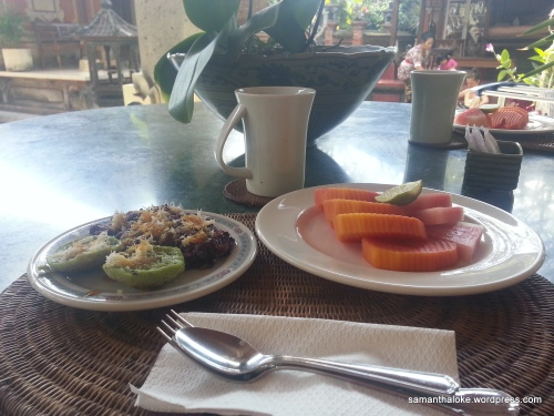 Delicious Balinese breakfast is served